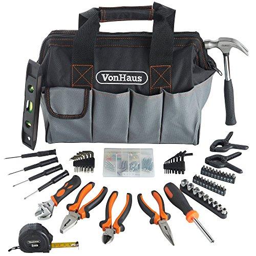 vonhaus-92-pc-household-tool-kit-bag-organiser-storage-diy-incl-bits-pliers-hammer-wrench