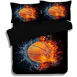 Juego de ropa de cama de 3 piezas, incluye una funda de edredón, 3D baloncesto impresión de edredón de efecto acolchado conjunto , C , Double