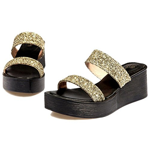 COOLCEPT Femme Mode Bout Ouvert Mules Plateforme Compense Sandales Brillant Soiree Or
