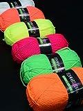 6er-Pack 50g PSYWORK Schwarzlicht Wolle Neon Gemischt