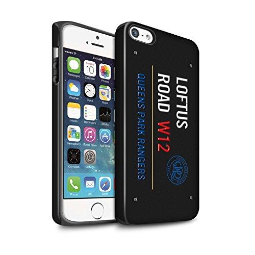 Officiel Queens Park Rangers FC Coque / Matte Robuste Antichoc Etui pour Apple iPhone 5/5S / Blanc/Rose Design / QPR Loftus Road Signe Collection Noir/Bleu