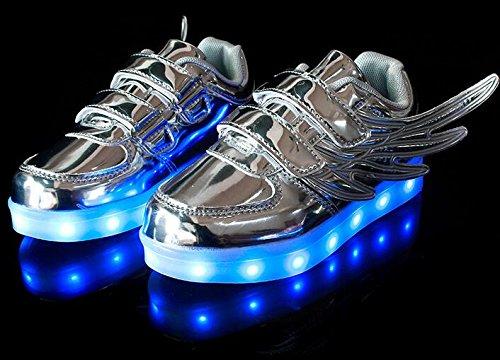 Firstmall-LED Chaussures 7 Couleur Unisexe garçons et filles enfants USB Charge LED Ailes Chaussures de Sports Baskets Argent
