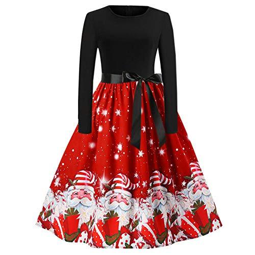 Vestito di Natale Gonna Babbo Natale Stampa Abito Manica Lunga Vintage Cocktail Abbigliamento Abiti da Sera Vestiti Casuale con Cintura Eleganti Ragazza Anni 50 Cerimonia Hepburn Abiti