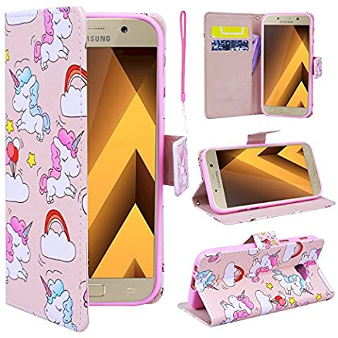 SmartLegend Samsung A3 2017 Wallet Case, Galaxy A3 2017 Leather Case, Folio Flip Case Cover for Samsung Galaxy A3 2017 SM-A320 with Strap, Cute Cartoon Unicorns Book Style PU Full Body Protection with [Kickstand] Stand Function, Card Slots Holster Purse, Soft TPU Silicone Inner Back Cover SmartPhone Protective Skin Cover for Samsung Galaxy A3 2017 SM-A320 - Unicorn