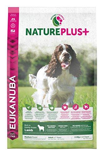 Eukanuba nature plus, cibo secco per cani adulti, taglia media, 1-6 anni, crocchette cani con agnello, senza frumento, 2,3 kg