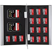 King of Flash Silver Aluminium 2 x SD/SDHC Memory Card 15 x Micro SD SDHC Cards Holder Carry Case