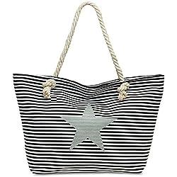 CASPAR TS1023 XL Bolso de Mano para Mujer/Bolso de Hombro de Playa a Rayas con Estrella, Color negro;Tamaño: Talla Única