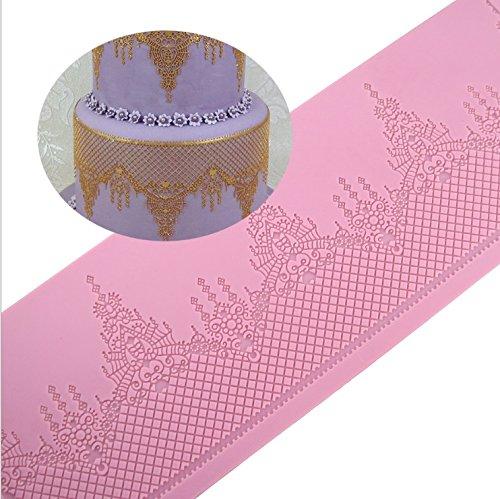 Delaman Spitze Silikonmatte Kronenform essbare Spitzen DIY Backen für Fondant Kuchen Torten Rand Deko Weihnachten Hochzeit (Essbare Spitze Silikon Form)