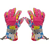 Phenovo Women Winter Sports Waterproof Motorcycle Snow Ski Gloves - Rose Red Camo M