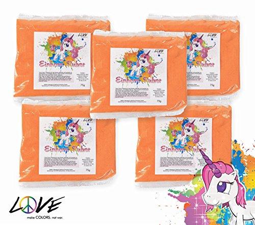 Love Colors EINHORNPULVER - Holi Gulal Farb Pulver - 5 x 75g Beutel / weltexklusives,...