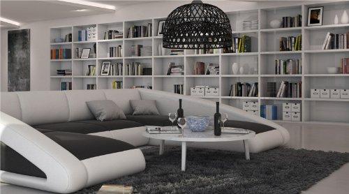 SAM® Sofa Garnitur schwarz / weiß / weiß Ciao rechts 205 x 355 x 250 cm designed by Ricardo Paolo Wohnlandschaft futuristisch Wohnzimmer Sofa Landschaft pflegeleichte Oberfläche Lieferung mit Spedition Artikel ist montiert - 2