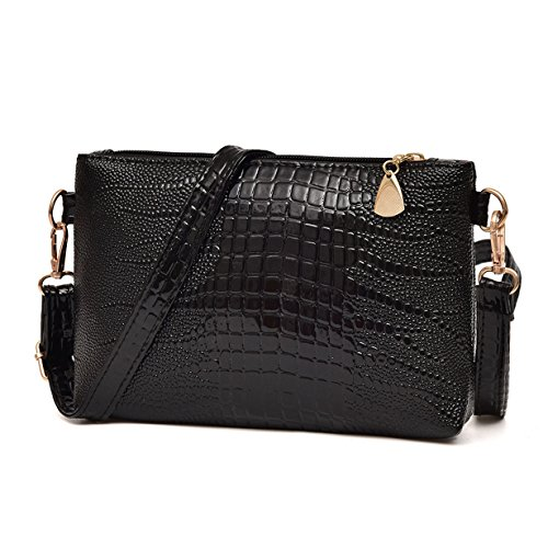- 51FD3dAHQQL - Yuan Clearance Handbag Crocodile Pattern Shoulder Bag Cross Body Bag Tote Ladies Purse