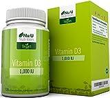 Vitamina D3 Vegan 1000 UI | 120 Capsule Softgel Vegan - Fornitura Per 4 Mesi | Integratore di Vitamina D Senza Allergeni e OGM | Prodotto in UK da Nu U Nutrition