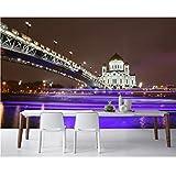 Xbwy Papel De Parede Templos Puentes Moscú Rusia Noche En La Pared Wallpape, Restaurante Salón Bar Tv Sofá Pared Cocina Mural 3D-280X200Cm