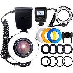 Flash Annulaire FOSITAN RF-550D 48 Macro LED Ring Flash pour Canon Nikon Sony MI Hotshoe Olympus Panasonic Pentax Avec 8 adaptateurs 4 diffuseurs flash Écran LCD