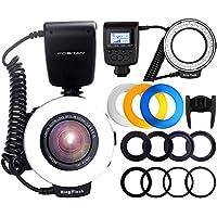 FOSITAN RF-550D 48 Leds Anillo LED Destello con Pantalla LCD Control de Potencia 4 Difusores Flash 8 Anillos Adaptadores, Anillo de Destello para Nikon Canon Sony DSLR Cámara