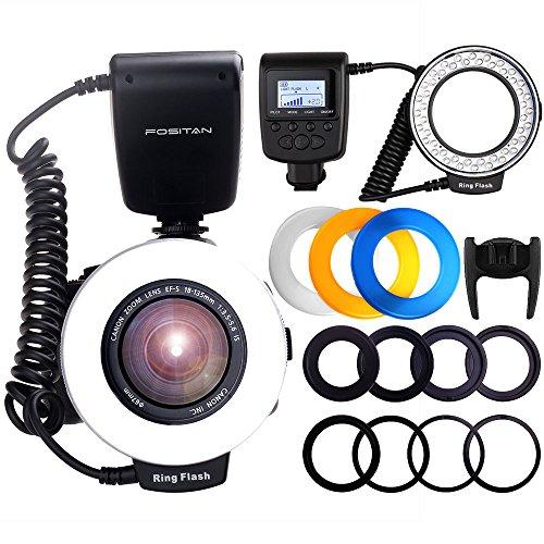 Macro LED Ringblitz, FOSITAN 48 LEDS Makro Ringblitzleuchte, Makrofotografie-Licht mit LCD Display Power Control, 4 Blitzdiffusoren, 8 Adapterringe für Nikon Canon Panasonic Olympus Pentax SLR Kamera