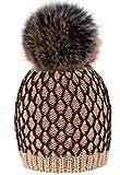 4sold Cuffia inverno in lana con Pelo, Marrone