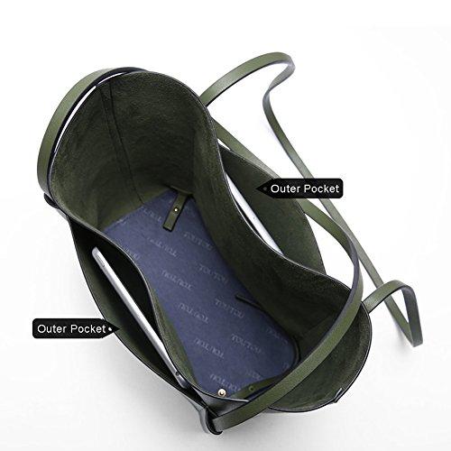 Borse casual Yoome per ragazze Borse eleganti in ottone borsa da cuoio per le donne Borse Handle Large - Verde Nero
