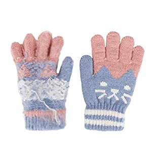 YJZQ Kinder Handschuhe Winter Vollfinger Handschuhe Warm Gestrickte Handschuhe Jungen Mädchen Fingerhandschuhe Weihnachten Geschenk für 4-8 Jahre Alt