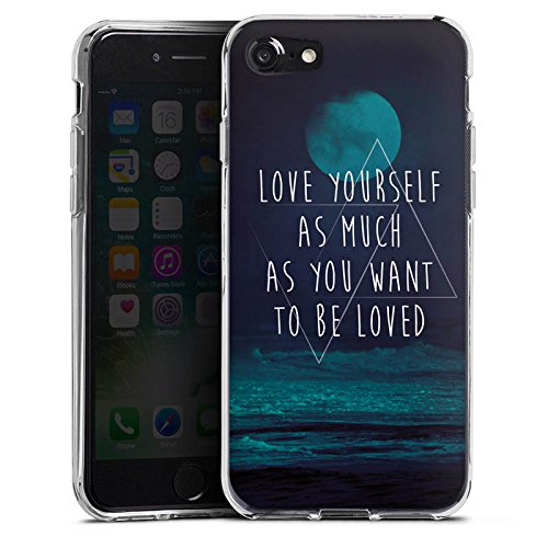 Apple iPhone X Silikon Hülle Case Schutzhülle Mond Ozean Statement Silikon Case transparent