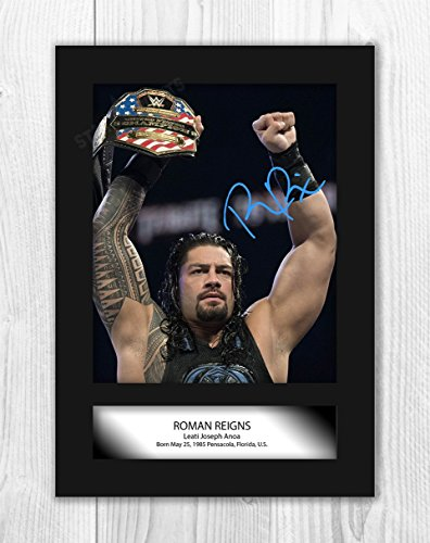 Engravia Digital Roman Reigns WWE Wrestler (3) Poster Signed Mounted Autograph Reproduction Photo A4 Print(Unframed)