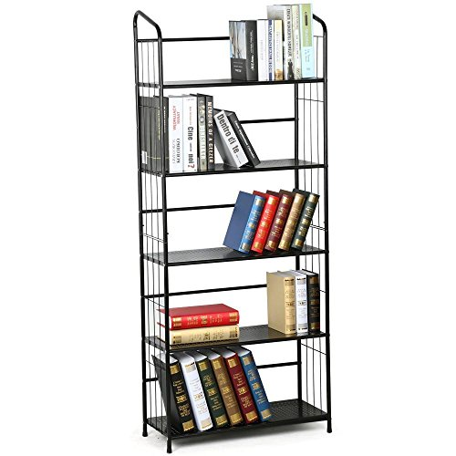 Yaheetech Metall Standregal Aufbewahrung Lagerregal Bücherregal schwarz Organisation Regal Pflanzenregal mit 5 Ablagen