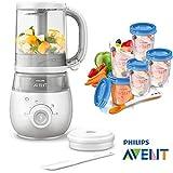 Philips Avent Easypappa SCF 875/02 - Juego de cocción al vapor 4 en 1 (incluye batidora, calentador, descongelación, cuchara y 5 vasos para alimentos)