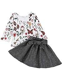 K-youth Vestidos Bebe Niña, 1 a 5 años Ropa Niña Elegantes Vestido de Fiesta para Niñas Manga Larga Mariposa Florales Top + Arco Falda 2 pcs Ropa de Bebe Niña
