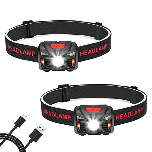 Linkax lampada frontale led,usb ricaricabile lampade da testa, led torcia frontale con 5 modalità sensore movimento, per correre campeggio pesca ciclismo speleologia(2pcs)