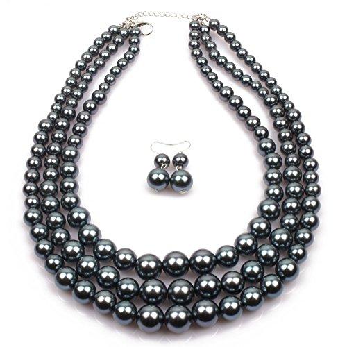 Frauen Simulierte Faux Drei Multi-Strang Perle Statement Halskette und Ohrringe Set (Kostüm Deco Art Schmuck)