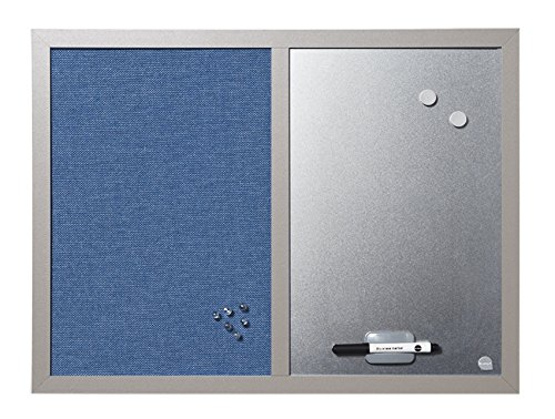 Bi-Office Blue Bells - Tableau Mixte, d'Affichage en Tissu Bleu et Magnétique Argent, 60 x 45 cm, Cadre en MDF Perle