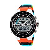 SKMEI 5ATM etanche Hommes montre sportif Digital LCD Chronometre Chronographe Date alarme Casual poignet Orange