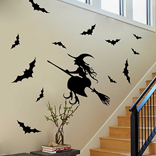 BIBITIME Scary Halloween Wand Aufkleber Vinyl Home Decor Shop Fenster Aufkleber Room Art Wandmalereien Pub Bar Innen Scene Setter Art Deco DIY Size Flying Witch and 12 Bats