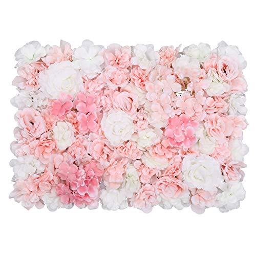 Trimming Shop Hortensie Künstliche Blumen Wand Weiß, Grün & Rosa samt Rose Gefälschte Blumen Wand für Kulisse Hintergrund, Dekoration, Hochzeit, Party, Wohnkultur, 60cm X 40cm, Einzeln
