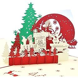 medigy Tarjetas de Navidad Tarjeta de felicitación pop up 3d hecha a mano, tarjeta en blanco, tarjetas, Noche de Sagrada