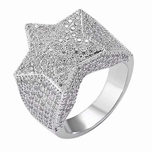 Herren Hip Hop 14K vergoldet Iced Out Cluster Diamant CZ Bling Star Punk Ring