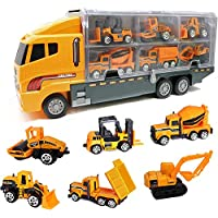 Die Cast Emergency Trucks Vehicles Toy Cars Play Set in Carrier Truck - 7 in 1 Transport Truck Emergency Car Set for Kids Gifts (Construction Vehicle Set)