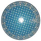 L 'Orient marroquí Mosaico Mesa Redonda de Color Azul Claro vidriado. 60cm | König Ciudad FES gefertigt | Redonda Plegable Mosaico Comedor Mediterran | como Mesa Plegable para terraza o jardín