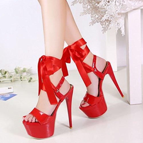80aa219ebcbef4 YE Damen Extrem High Heels Plateau Stiletto Lack Sandalen Pumps mit  Schnürung Party 16cm Absatz Schuhe ...