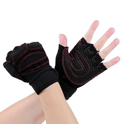 Fitness Handschuhe Trainingshandschuhe Sporthandschuhe für Bodybuilding und Krafttraining wie Gewichtheben Hanteln Klimmzüge u. a. (Schwarz-Rot)