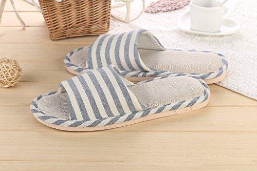 Minetom Donne Uomini Unisex Pantofole Morbido Lino Interno Scarpe Coppia Pantofole Blu scuro