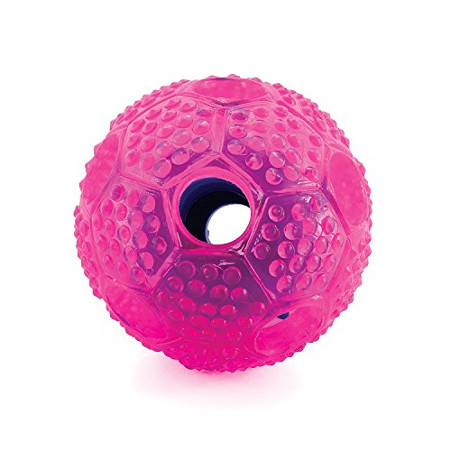 KINDSONG Hundespielzeug Ball Hundeball aus Naturgummi Langlebiger Hundespielball für große kleine Hunde Dental Zahnpflege Funktion mit Noppen und Loch für Leckerli Langanhaltender Spielspaß