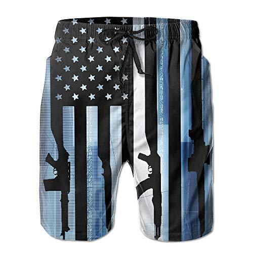 147b9ae9a6 American Gun Flag Men's Quick Dry Summer Beach Board Shorts Swim Trunks  with Pockets M