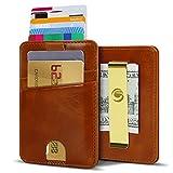 Súper Delgada Monedero Mini Tarjetero RFID de Piel Calidad Vacuno, Tarjetas de Visita Tarjeta de Crédito, Alojar Hasta 9 Tarjetas para Hombre.