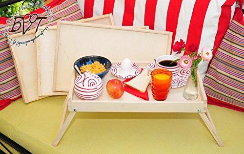 Picknickset, Picknickbretter - 4 Betttabletts, natur, massiver und hochwertiger Beistelltisch, Knietisch mit zwei Tragegriffen, Maße viereckig, 35 cm x 50 cm x 20 cm, nutzbar als Frühstückstablett oder Serviertablett, Picknick Grill-Set