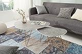 DuNord Design Couchtisch Wohnzimmertisch Beton Optik Beistelltisch Nierentisch Retro Nierenform 2er Set Tischset GRANADA
