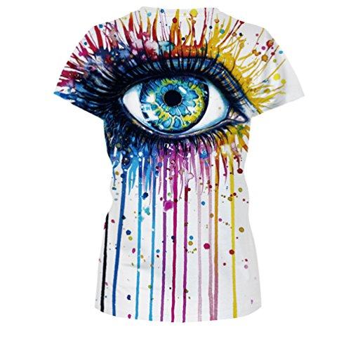 MILEEO Damen Basic T-shirt Skull Schädel Shirt mit Rundhals Klassisch Rundhalsshirt Kurzarm Tops Stil 2