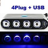 Vktech 4 Way Car Cigarette Lighter Socket Splitter + USB + LED Light Control