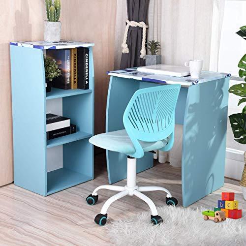 Aingoo Kinderschreibtisch Kindersitzgruppe Kinderschreibtische mit Bücherregal Perfekt zu Sein Schülerschreibtisch Computertisch Arbeitstisch Jugendschreibtisch,Blau